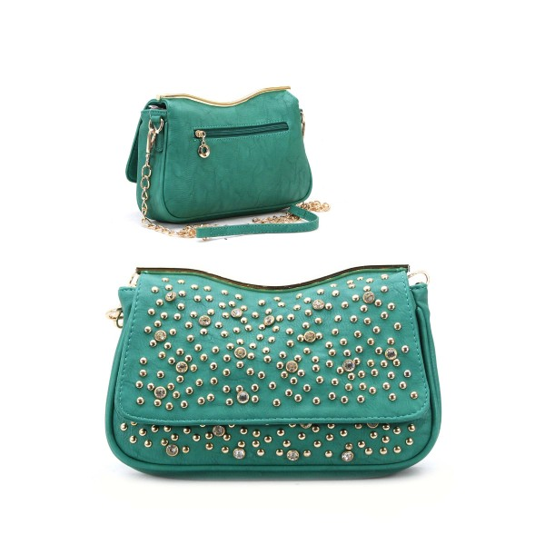 Handbag Purse Bag Cross Body Bag Rhinestones Gold Metal Studs ...
